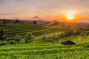 Gunung Agung der 3000-Meter hohe Vulkan bei Sonnenaufgang