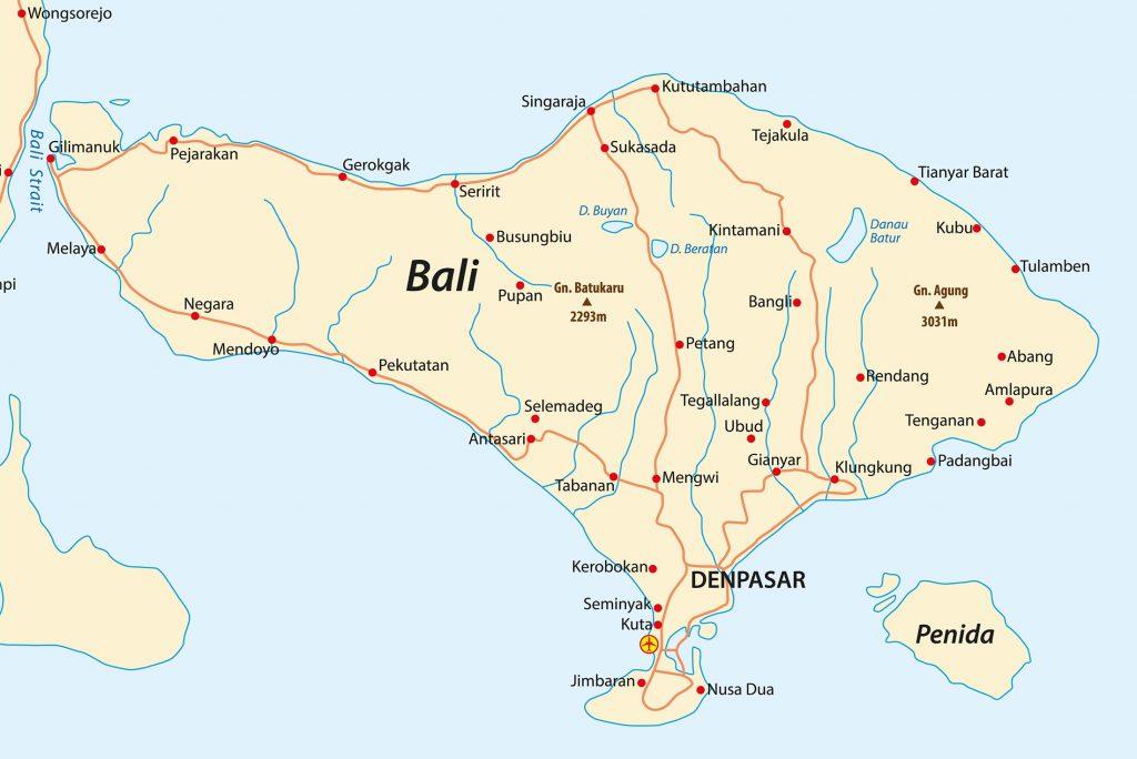 Bali Map - Hotels und Villen auf Bali